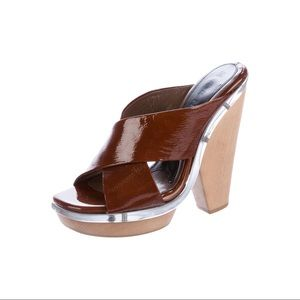 Marni Patent Leather Slide Sandal Heels Size 6